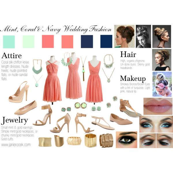 B&T Wedding Day Beauty & Fashion Inspiration Board.  Mint, coral & navy wedding. Spring time wedding. Sophisticated yet easy going.
