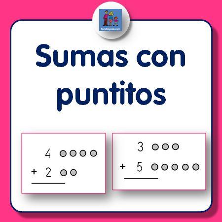 Fichas de sumas con puntitos para niños