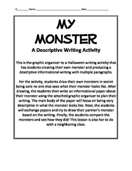 my monster a halloween descriptive writing activity grade 5 descriptive writing activities. Black Bedroom Furniture Sets. Home Design Ideas