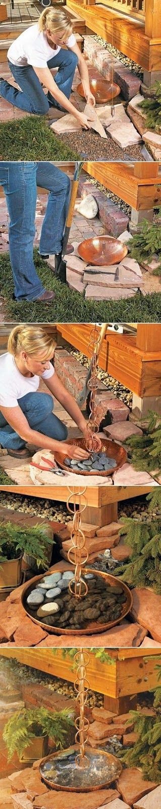 How to set up a copper rain chain and basin. Great and beautiful alternative to downspouts!