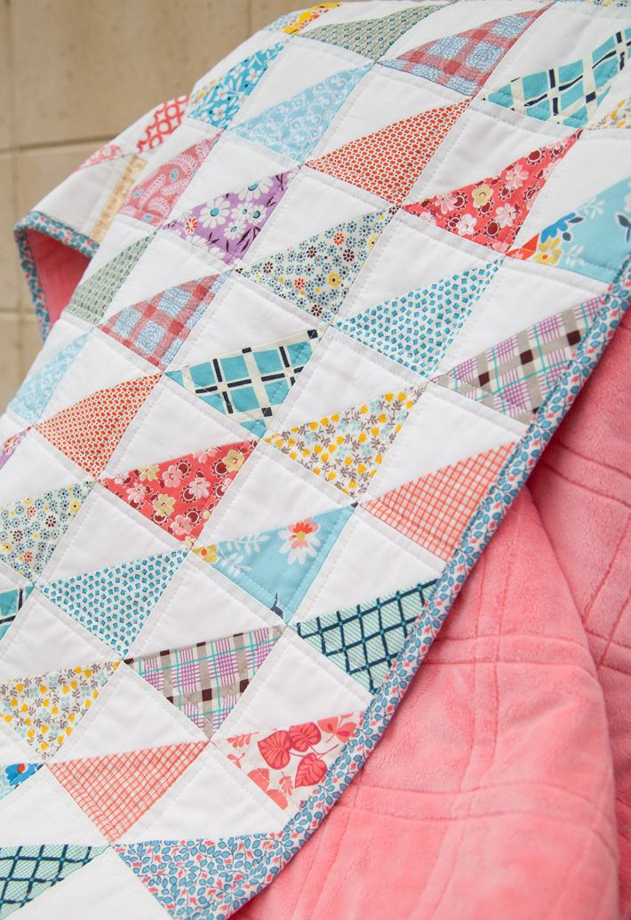 Aqua and Coral Half Square Triangle Quilt |