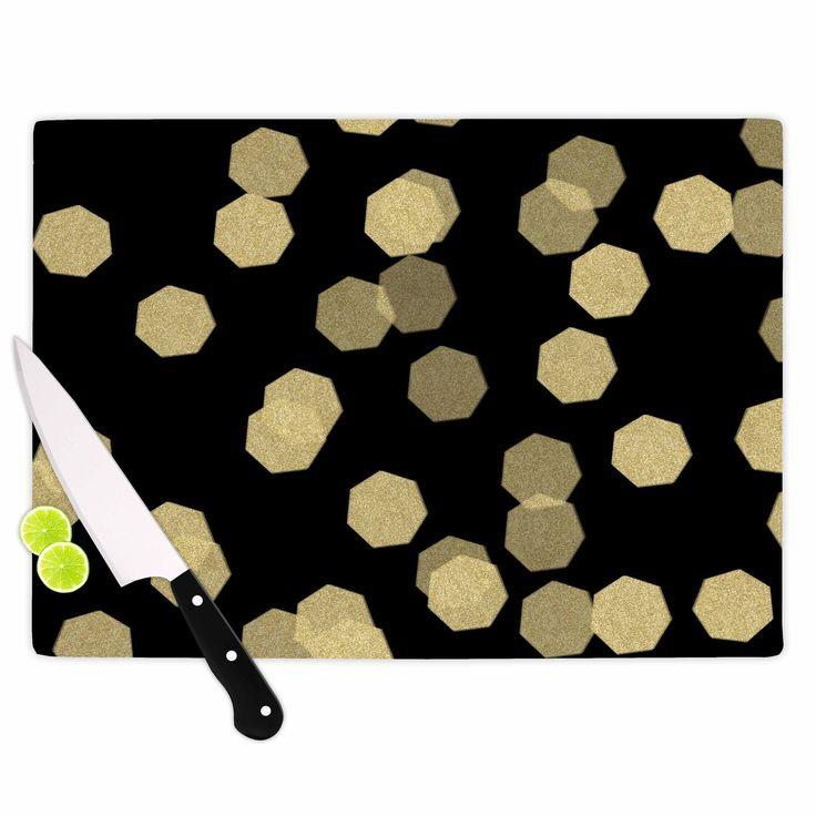 """Chelsea Victoria """"Confetti Noir"""" Black Gold Cutting Board"""