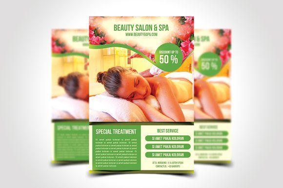 Beauty Salon & Spa Flyer Template by meisuseno on @creativemarket