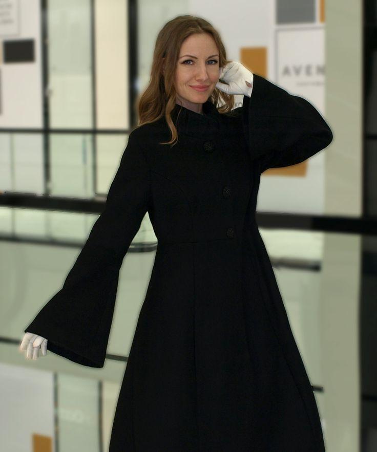 Пальто из шерсти с кашемиром трапеция черное