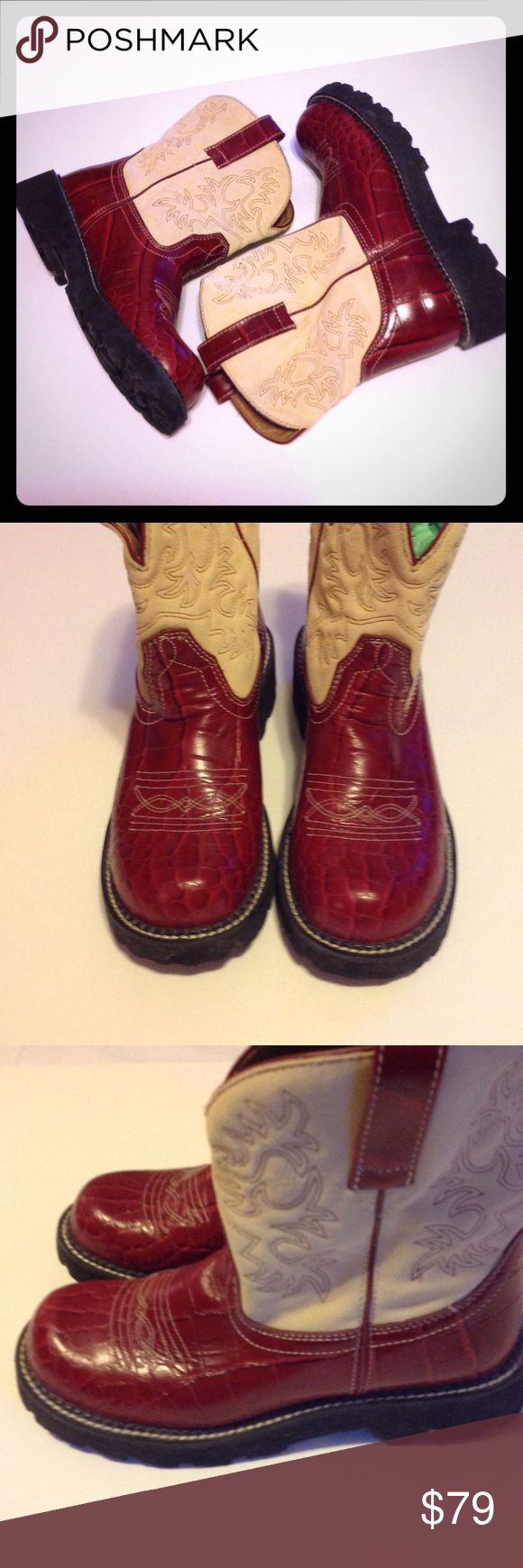 """Ariat Red Fatbaby Red Cowboy Boots NWOT Oh so stylish leather with suede upper(faux reptile). Crepe soles. Perfect condition!! Great pop of deep red color for that outfit! Beautifully designed boot! Heel 1.5"""" Ariat Shoes Ankle Boots & Booties"""