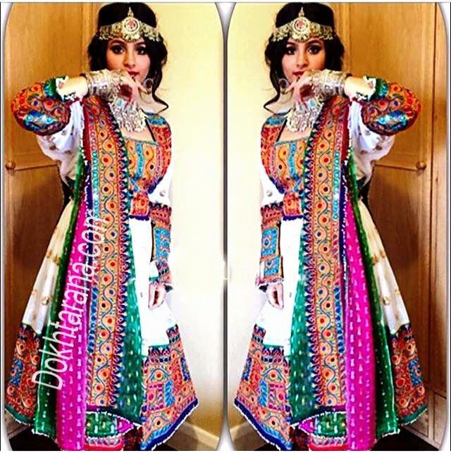 #white/green/pink afghani dress