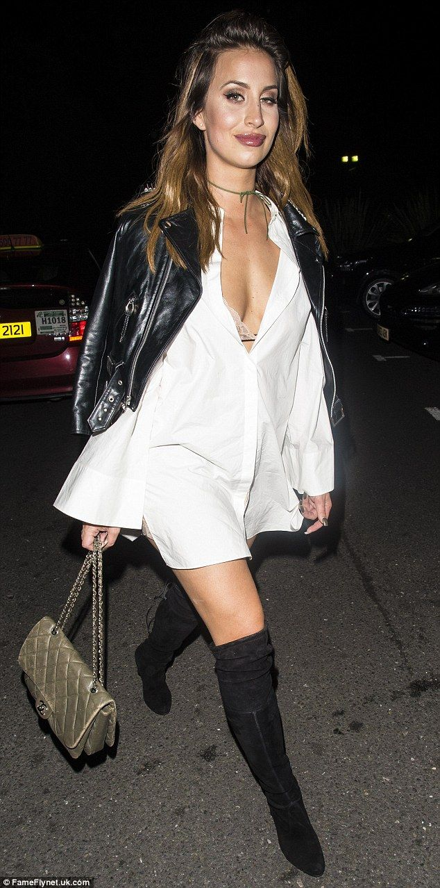 Enviable: Ferne McCann is back displaying her enviable hourglass shape once more in a thigh-skimming shirt dress while out on the town with her gal pals on Wednesday