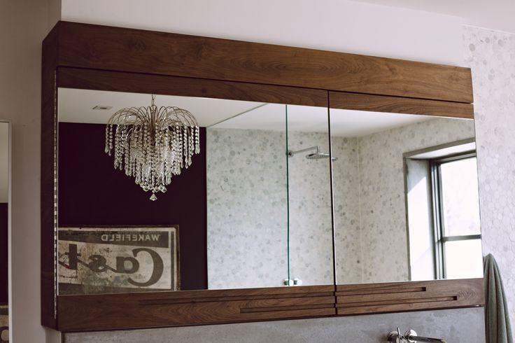 Solid walnut bathroom cabinet for a home in Parkdale
