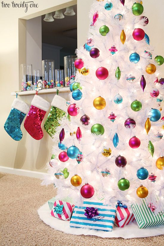 White Christmas tree with colorful ornaments!
