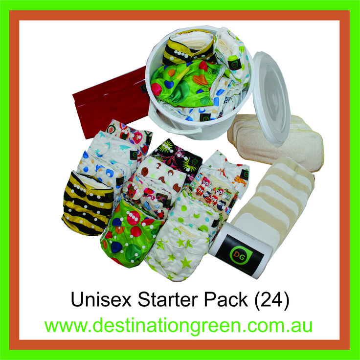 Unisex Starter Pack - includes 24 reusable nappies, $270.00