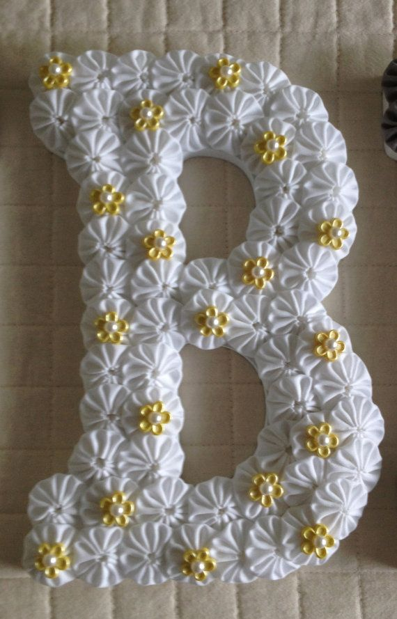 """Custom Wood Letters - Baby Name or Initial Letters - 9"""" Wooden Letter covered with fabric yo-yos can hang on door or wall"""
