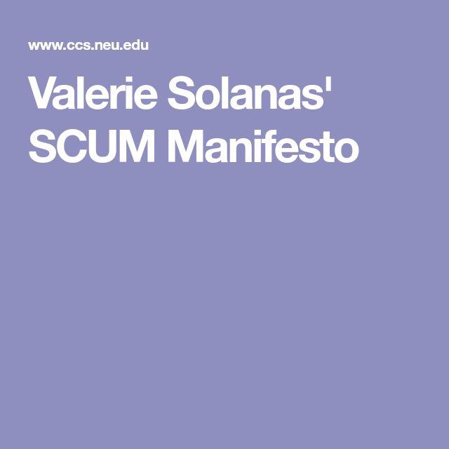 Valerie Solanas'  SCUM Manifesto