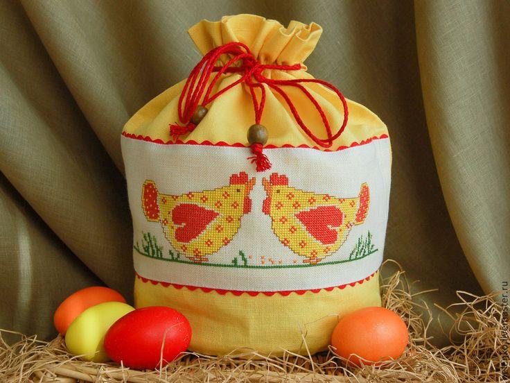 Купить Льняной мешочек для Пасхального кулича (желтый) - желтый, пасхальная корзина, подарок на Пасху