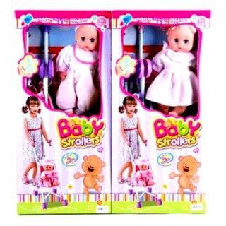 130.000 Stroller lucu untuk boneka si buah hati. Ukuran stroller  47x21x17cm. Sudah termasuk 1buah boneka. Volume 2kg. Berat 2kg.