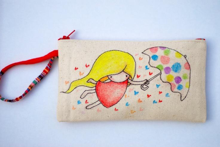 Fly with Rainbow Umbrella Hand Painted purse. $19,90, via Etsy.