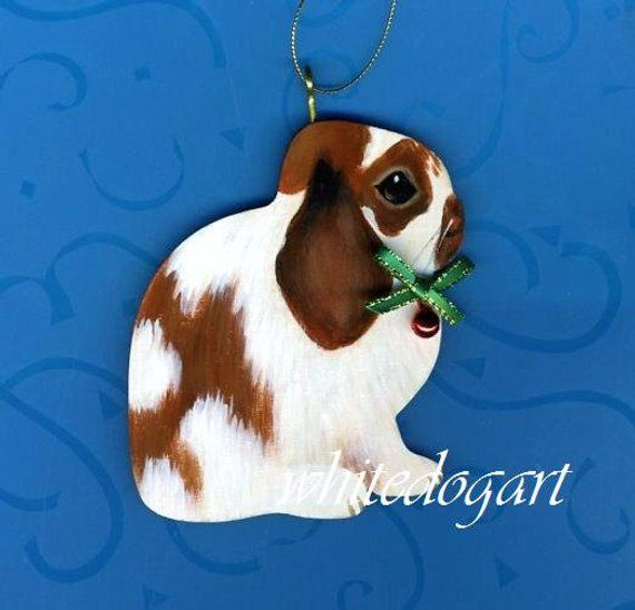 Handpainted Lop Eared Rabbit Christmas Ornament Christmas