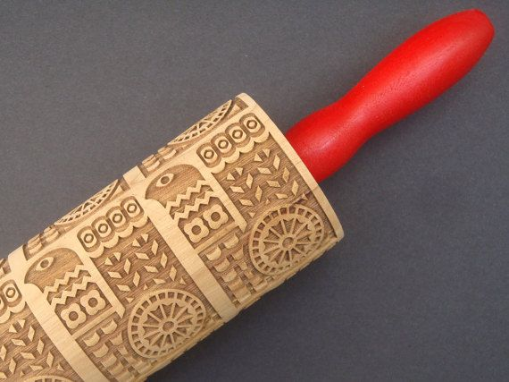 Wooden Embossing Rolling Pin  Scandinavian by BezalelArtShop