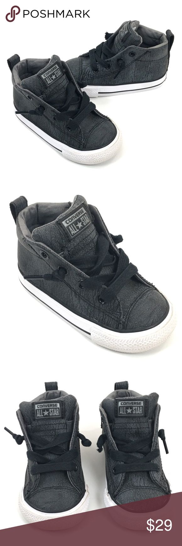 Converse All Star Street Mid Top Sneaker 6 Leather Converse Chuck Taylor All Star Street Mid Top Sneaker 6 Leather Gray Toddler  💰Savings on items placed in bundles 📦Super FAST Shipping 💸Great Deals on Offers...Ya just gotta ask🙋🏻♀️🙋🏻♂️  ▪️Condition: Used ▪️Slip-on style with decorative knotted laces ▪️Runs large; order next size down ▪️Leather or textile upper/textile lining/rubber sole  (See Pictures for More Details)  💌Please Reach Out With Any Questions  🚫Sorry No Trades…