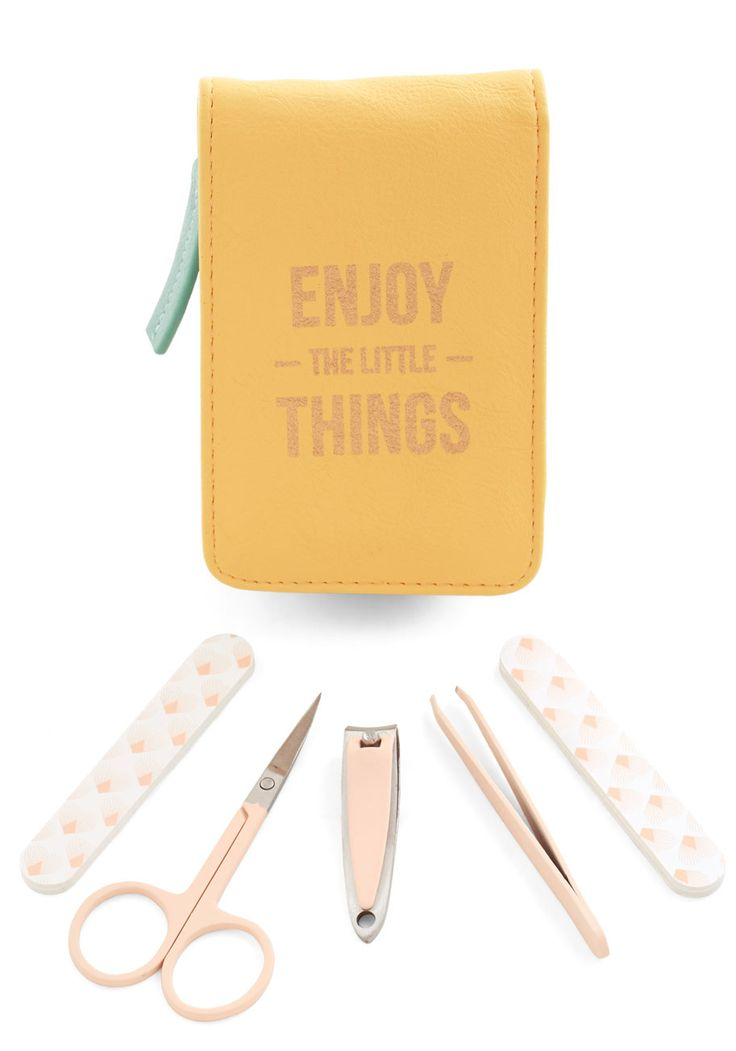 Touch Up and Coming Manicure Kit. Your look is sure to impress all the way down to your fingertips when you use this manicure kit from Wild  Wolf - a British brand that supports the organization WaterAid, which helps provide clean drinking water to people around the world! #yellow #modcloth