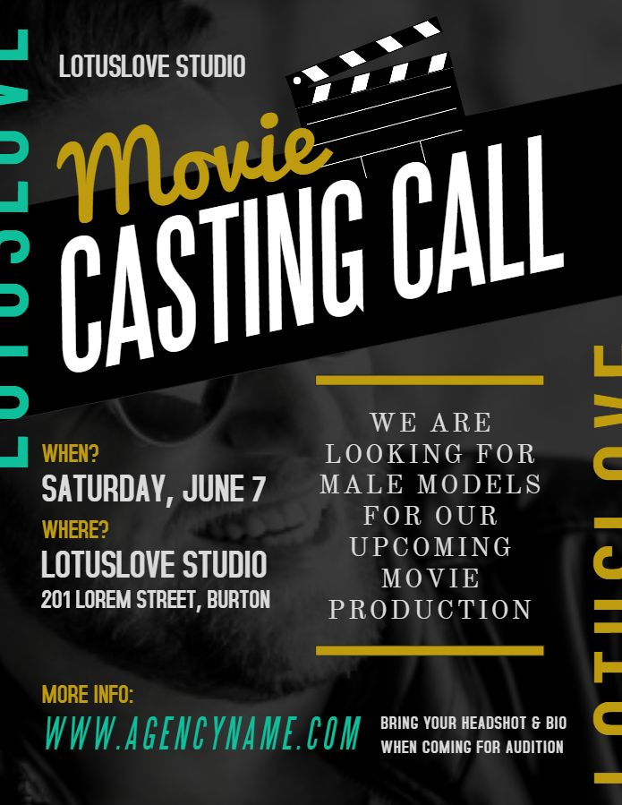 Movie Casting Call Ad Poster Flyer Social Media Template