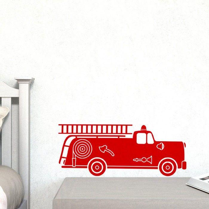 Muursticker brandweerwagen - middel