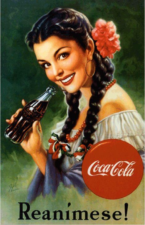 Cartel publicitario de Coca-Cola impreso en los Estados Unidos para América Latina, año 1949                                                                                                                                                      Más