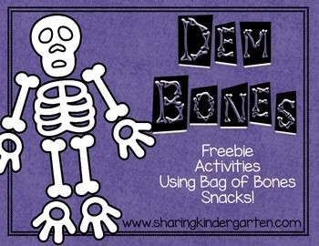 "These activities are designed to use the Cheetos Bag of Bones snacks.  They come in stores around Halloween.  This pack was also a Facebook fan request.   by Mary Amoson <a href=""http://sharingkindergarten.com/"">Sharing Kindergarten</a> <a href=""http://http//www.facebook.com/SharingKindergarten/"">Sharing Kindergarten Facebook</a>"
