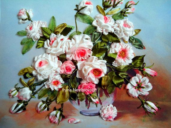 Embroidery silk ribbons handmade flowers tinted paints for silk ..Rozy.3d Picture embroidery The work is framed. Size 50x40 cm