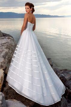 Chapel Train Charming Strapless Ruching Organza A-line Wedding Dress