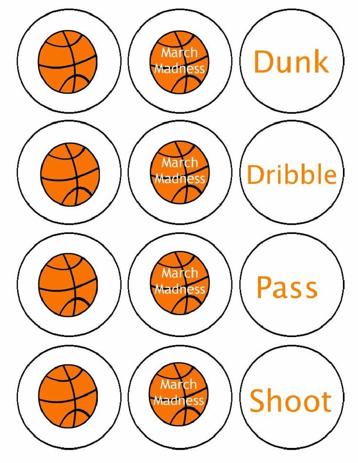 March Madness Basketball Cupcake/Food pick Circles
