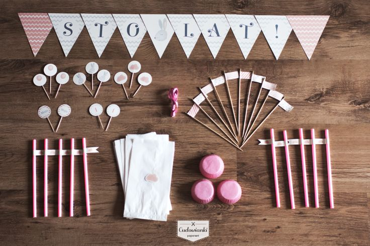 Perfect birthday decorations. Pink bunny by Cudowianki.