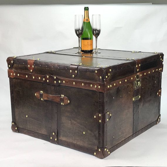 Large Square Leather Coffee Table Trunk Coffee Table Trunk