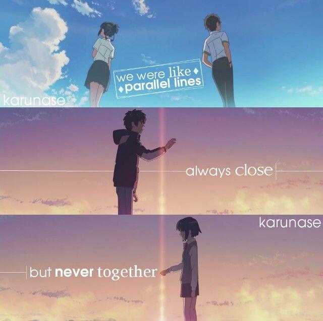 """Éramos como líneas paralelas: siempre cerca, pero nunca juntos..."" //Anime/Movie: Kimi No Na Wa - Your Name (2016)//"