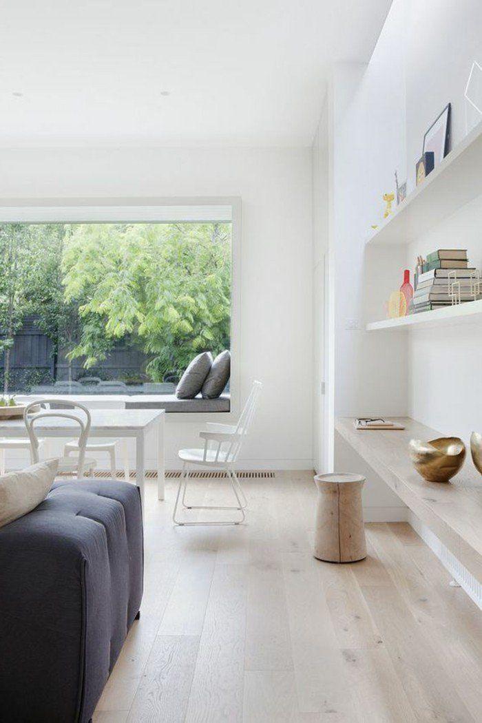 salon chic, sol en parquet clair, parquet massif chene, meubles de salon