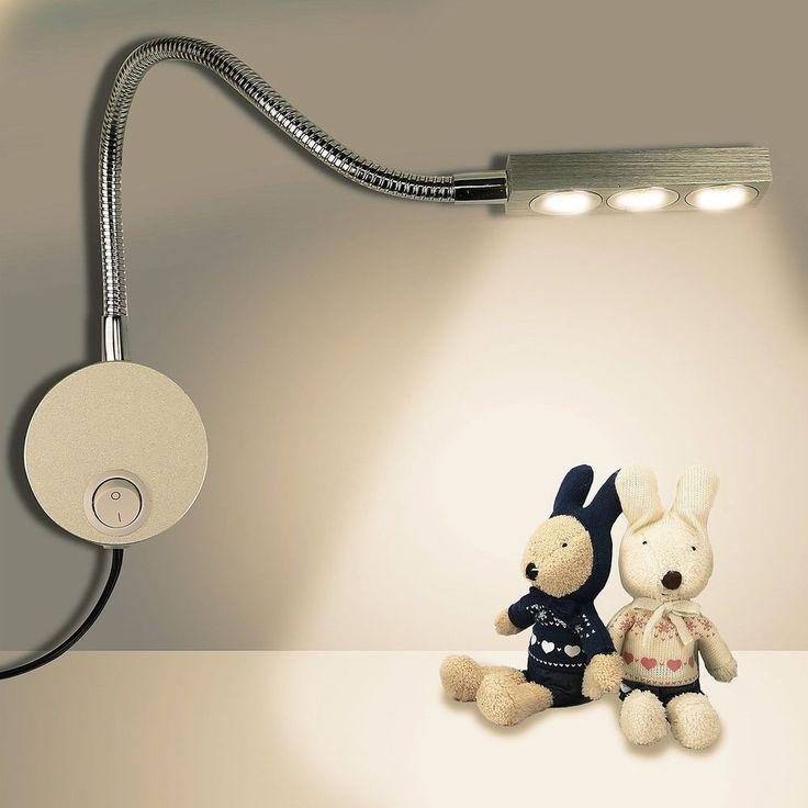 LED Reading Light Wall Mount Gooseneck Sconce Lamp Lighting Switch For Bedroom #LEDReadingLight