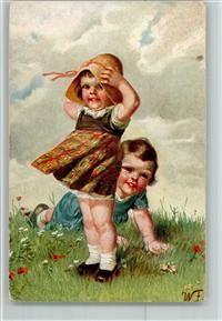Kinder auf der windigen Wiese AK