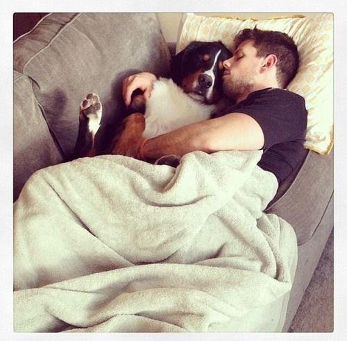 Carolina Hurricanes: Nathan Gerbe taking a nap with his dog, Cash