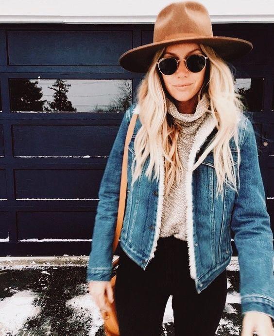 black jeans beige turtleneck sweater denim jacket hat  65eaa607f