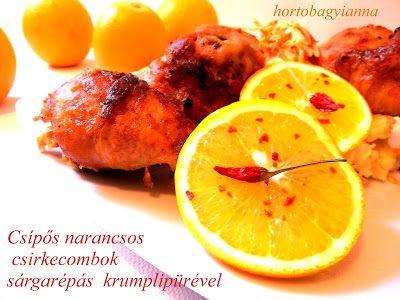 Csípős narancsos csirkecombok sárgarépás krumplipürével