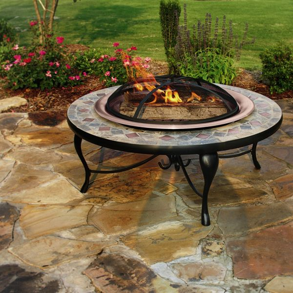 Mosaic Tile Fire Pit Part - 16: Gather Around The Slate Mosaic Patio Fire Pit Set, A Beautiful And Warming  Addition To Your Patio. The Patio Fire Pit Set Is Made Of A Wrought Iron  Finished ...