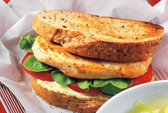 Toasted Chicken Sandwiches with Lemon Pepper Mayo.....  may be good to serve for a lunch.