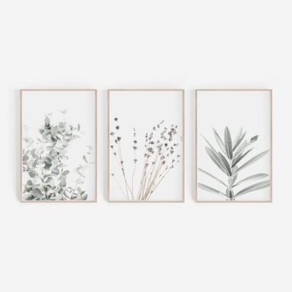Prints Set,Wall Art Set,Lavender Print,Eucalyptus Print,Set of 3 Prints,Botanical Prints,Botanical Art,Wall Decor,Lavender,Farmhouse Decor