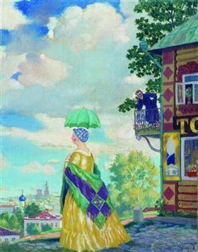 Merchant's wife on the promenade - Boris Kustodiev