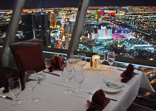 Top of the World Restaurant - Stratosphere - Las Vegas. Watched the sunset  saw the strip all lit up during our dinner!
