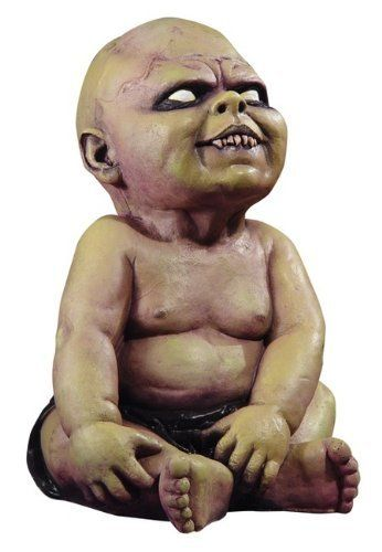 Zombie Baby - Prop . $47.88. This is one ugly little booger! Zombie Baby - Prop is a 16-inch tall latex prop of a sitting baby with possessed eyes, fang looking teeth and grayish dead colored zombie skin.