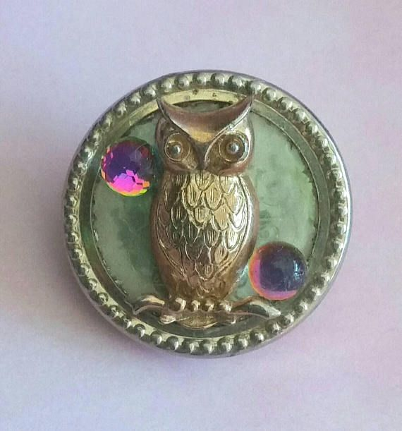 Vintage Upcycled OWL Brooch Reclaimed Jewelry 3D Gold Owl &