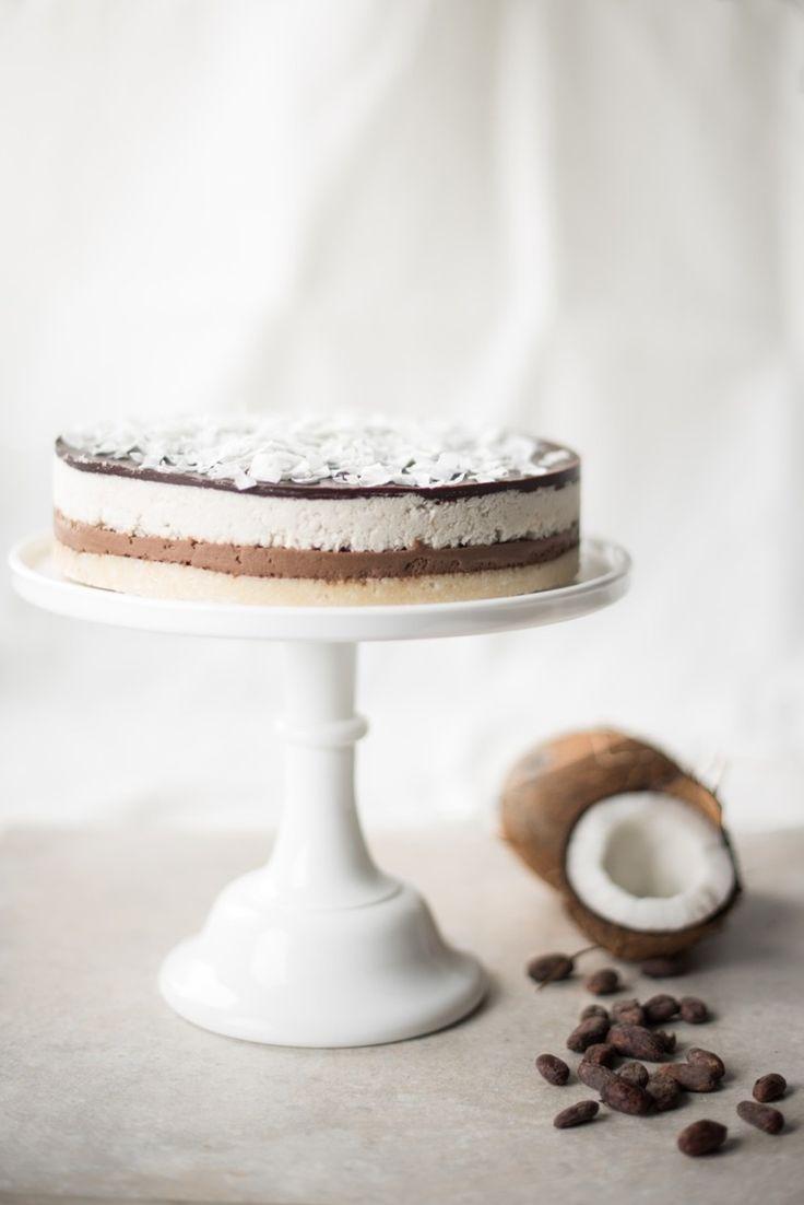 Raw cocoa, almond and coconut cake