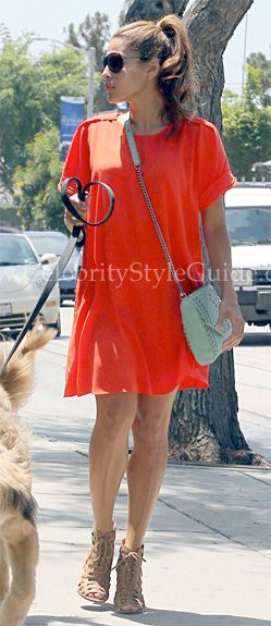 Eva Mendes wore the vibrant orange-poppy 3.1 Phillip Lim T-Shirt Dress when she was spotted heading to salon while walking her boyfriend Ryan Gosling's dog George in Los Angeles, California on August 2nd, 2012.