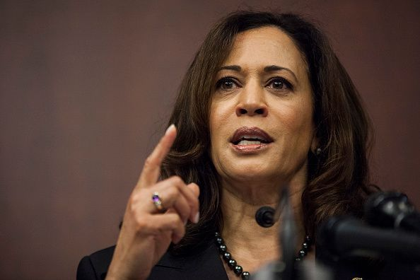 WASHINGTON, DC - MARCH 28: Sen. Kamala Harris (D-CA) speaks during a news conference on Capitol Hill on March 28, 2017 in Washington, D.C. The news conference, which worked with the National Council of La Raza, discussed whose parents had been deported (Photo by Zach Gibson/Getty Images)