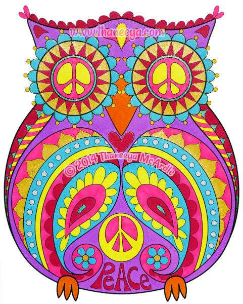 Peace Owl From Thaneeya McArdles Peace amp Love Coloring